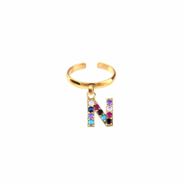 METAL CHORD ANELLO ORO / ZIRCONE MULTICOLOR 10mm ANELLI - LETTERA N
