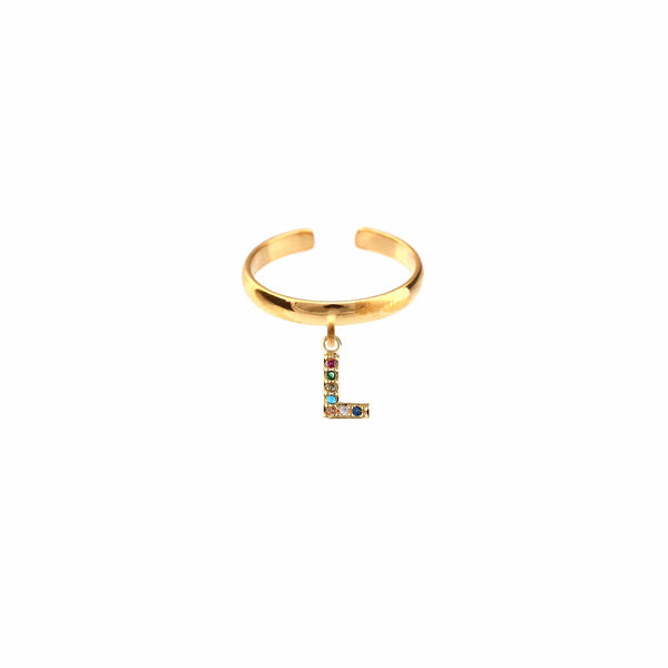 METAL CHORD ANELLO ORO / ZIRCONE MULTICOLOR 6mm ANELLI - LETTERA L
