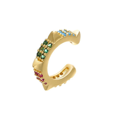METAL CHORD EAR CUFF ORO EAR CUFF BORCHIE ZIRCONI MULTICOLOR