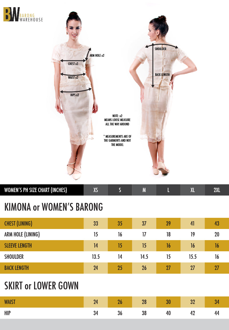 Barong Warehouse - Kimona and Women's Barong Size Chart