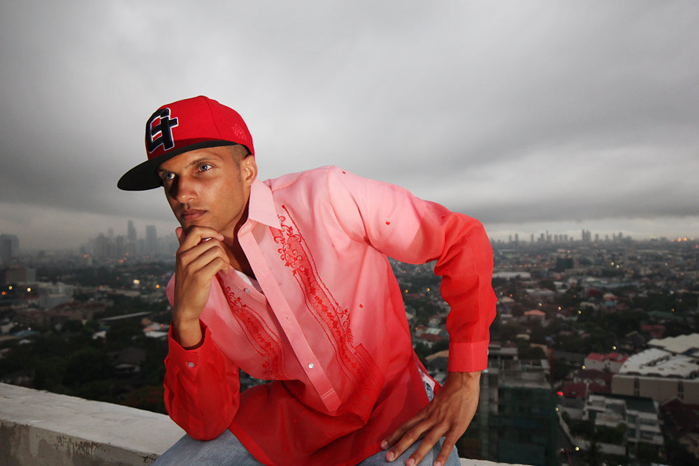 Barong Warehouse's Jusi Monochromatic Red Barong Tagalog with Capital G fitted cap.