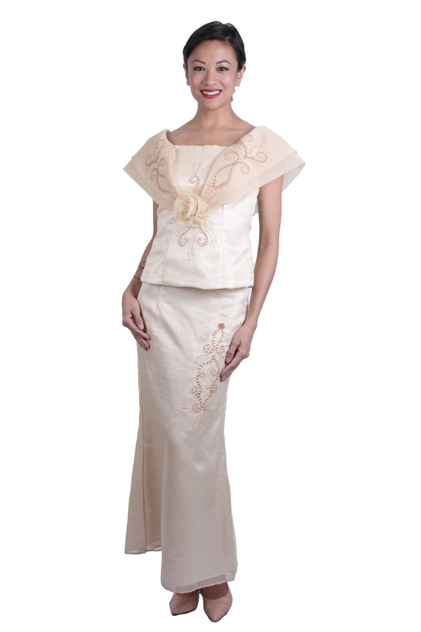 Pre-Order - Barot Saya Long Gown 003 Filipiniana Womens Set