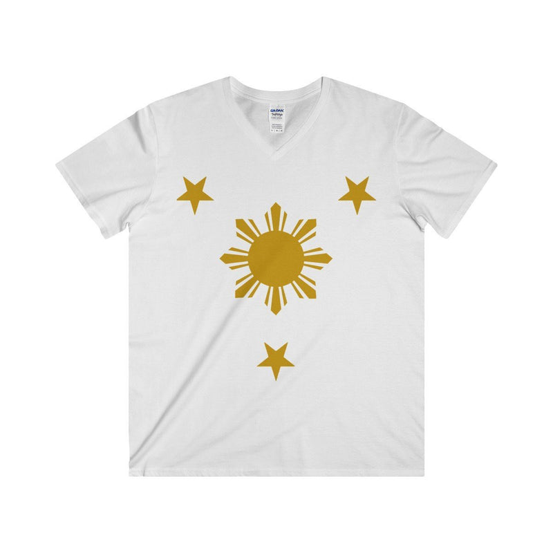 Three Stars & Sun - Fitted V-Neck Tee 7 Colors Available White / S V-Neck