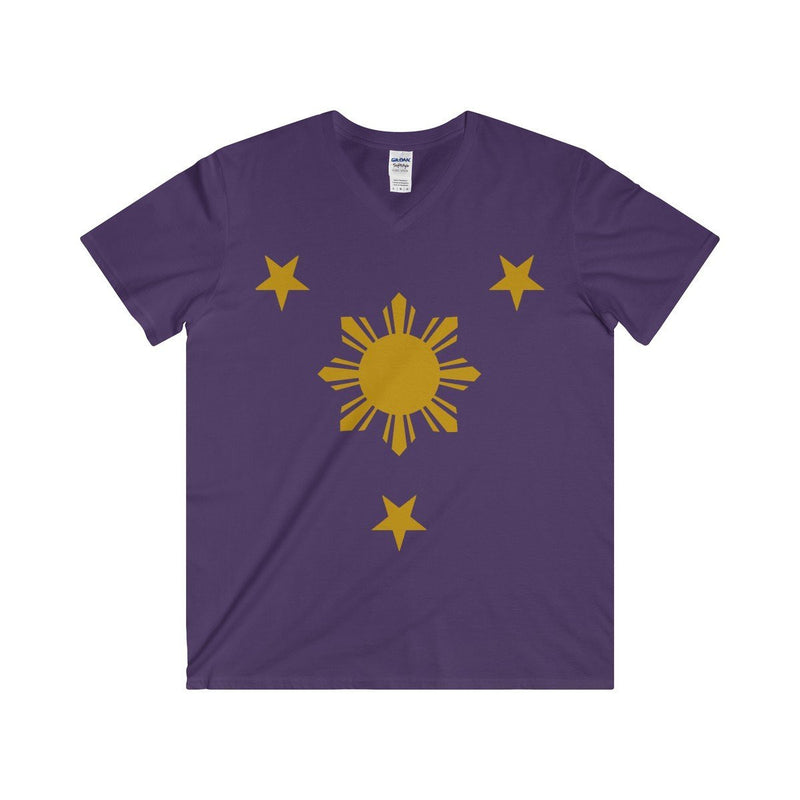 Three Stars & Sun - Fitted V-Neck Tee 7 Colors Available Purple / S V-Neck