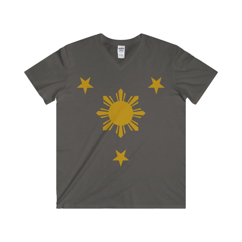 Three Stars & Sun - Fitted V-Neck Tee 7 Colors Available Charcoal / S V-Neck