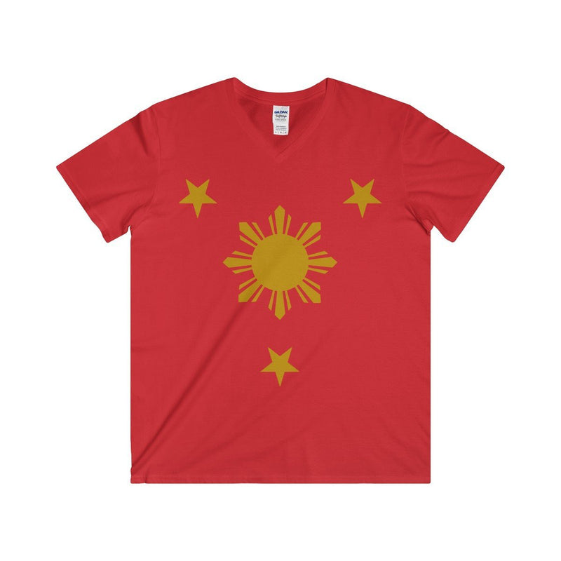 Three Stars & Sun - Fitted V-Neck Tee 7 Colors Available Red / S V-Neck