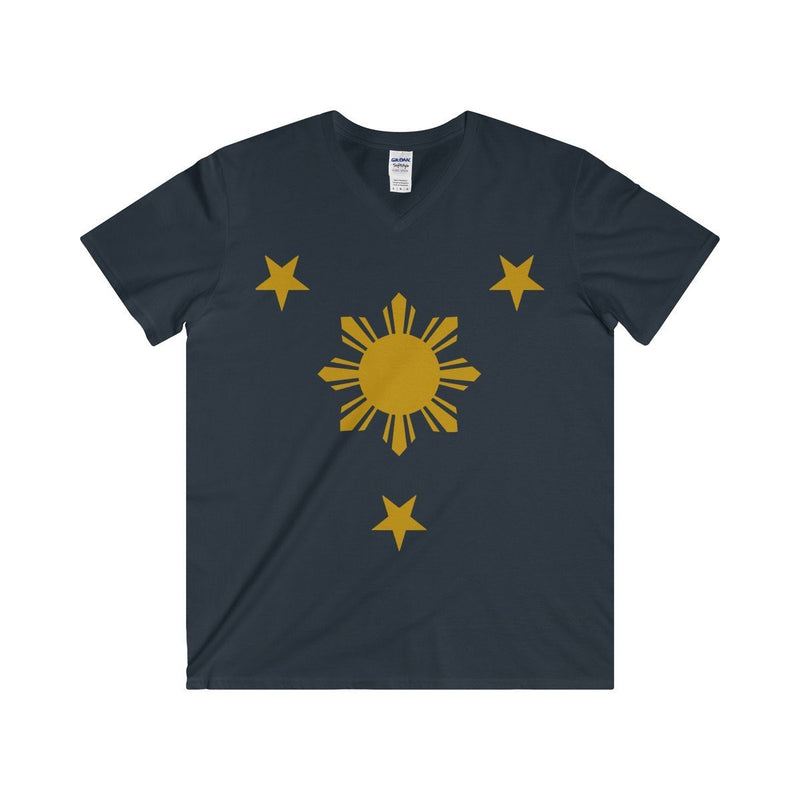 Three Stars & Sun - Fitted V-Neck Tee 7 Colors Available Navy / S V-Neck