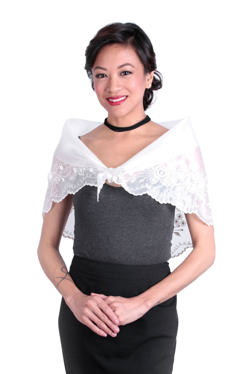 Womens Alampay White 001 - Filipiniana Blouse