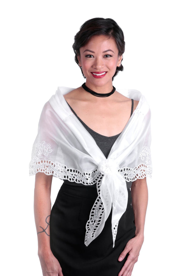Cutwork Alampay White 002 - Filipiniana Blouse