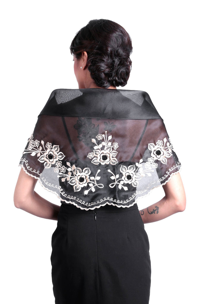 Womens Alampay Black 001 - Filipiniana Blouse