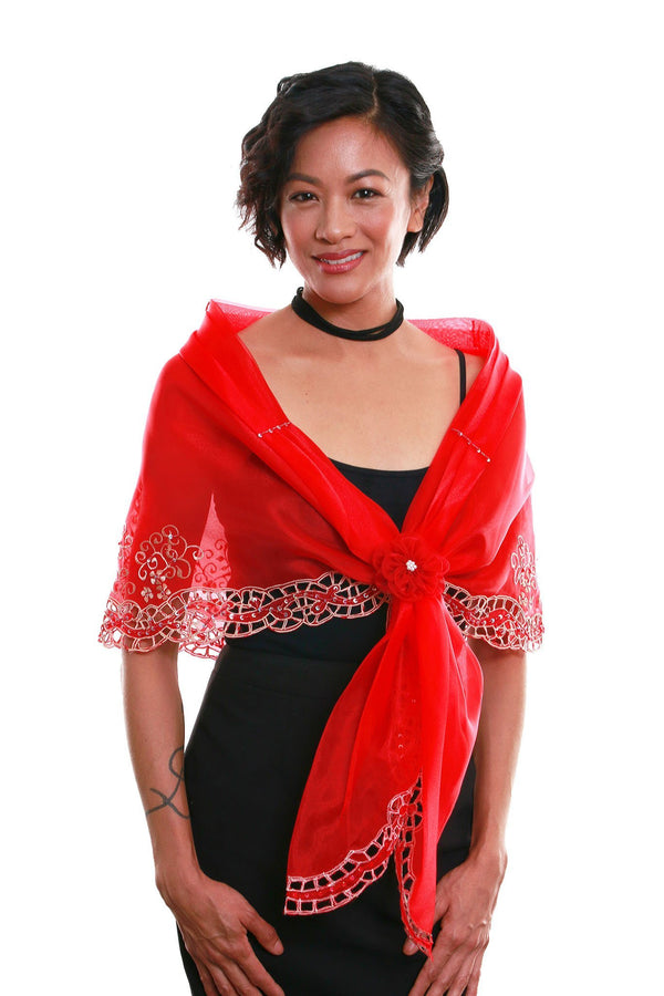 Cutwork Alampay Red 002 - Filipiniana Blouse