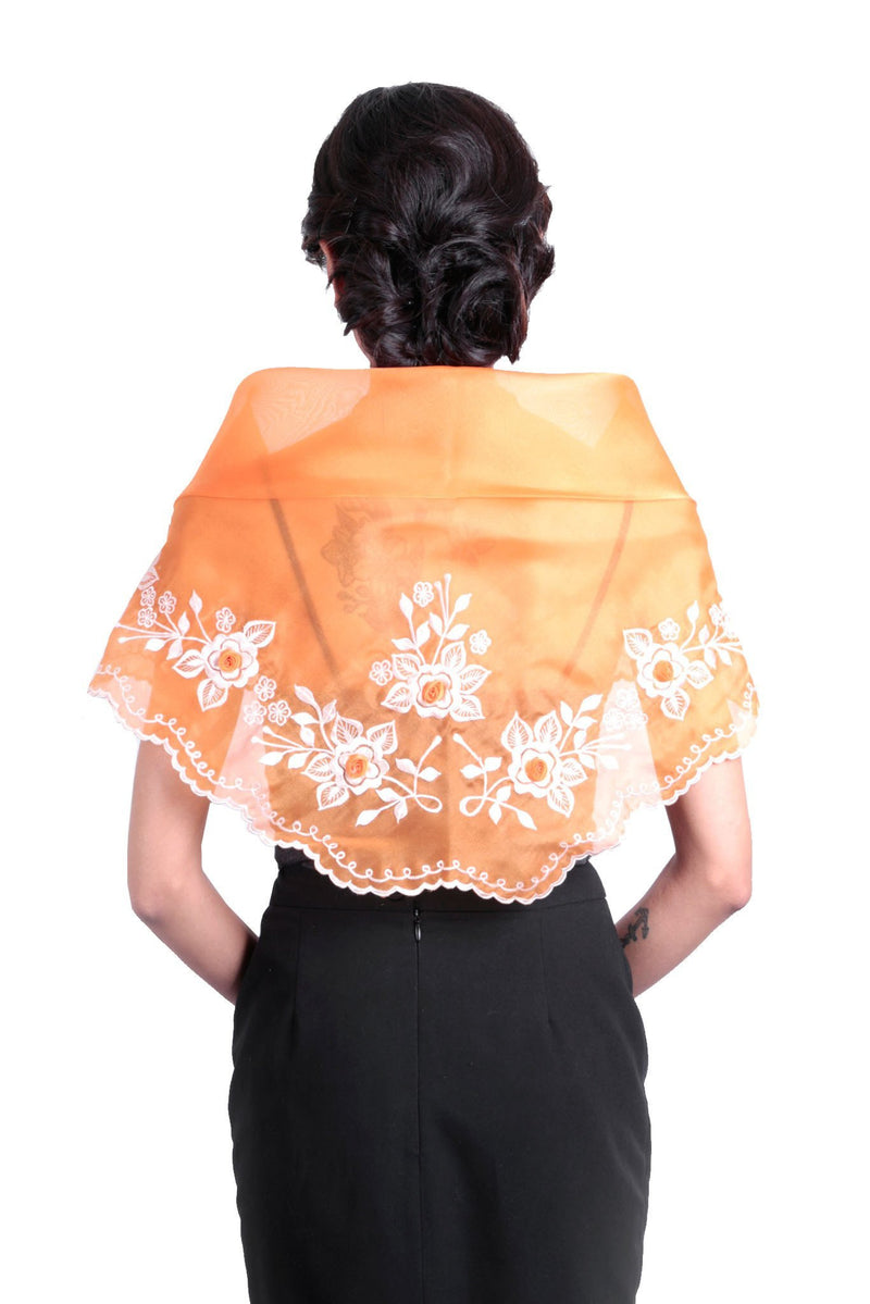Womens Alampay Orange 001- Filipiniana Blouse