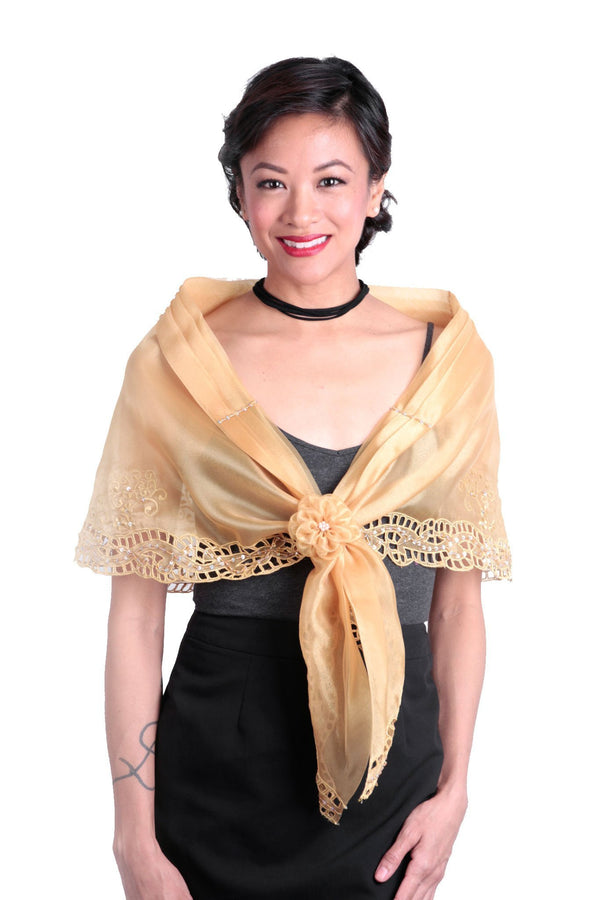 Cutwork Alampay Gold 002 - Filipiniana Blouse