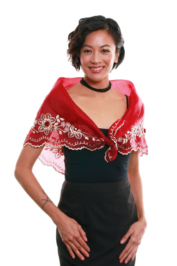 Womens Alampay Maroon 001 - Filipiniana Blouse
