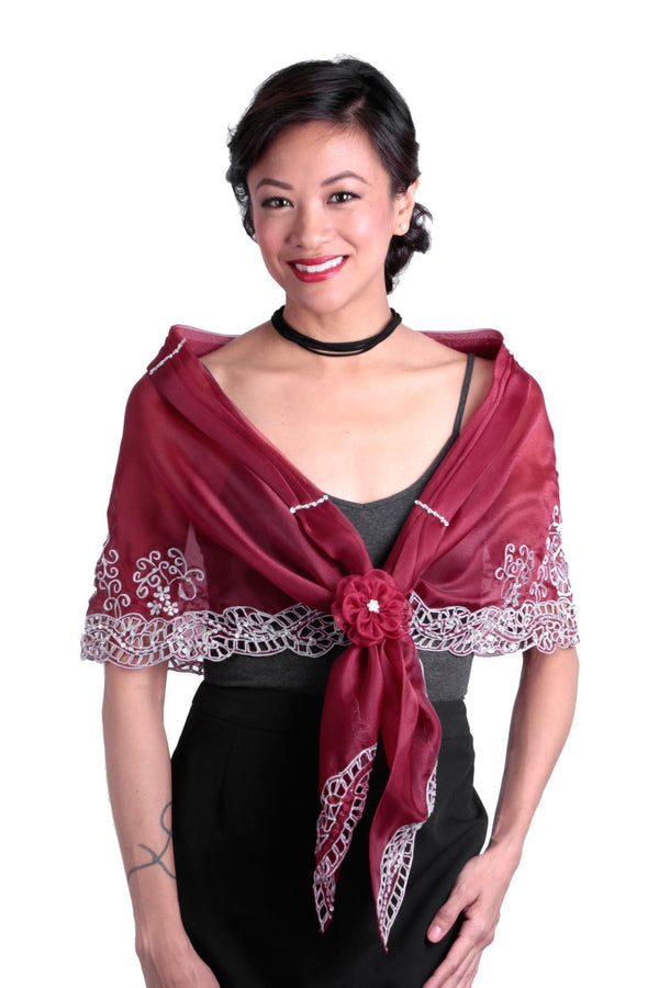Cutwork Alampay Maroon 002 - Filipiniana Blouse