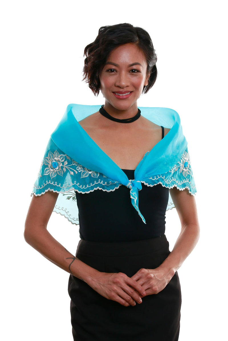 Womens Alampay Light Blue 001- Filipiniana Blouse