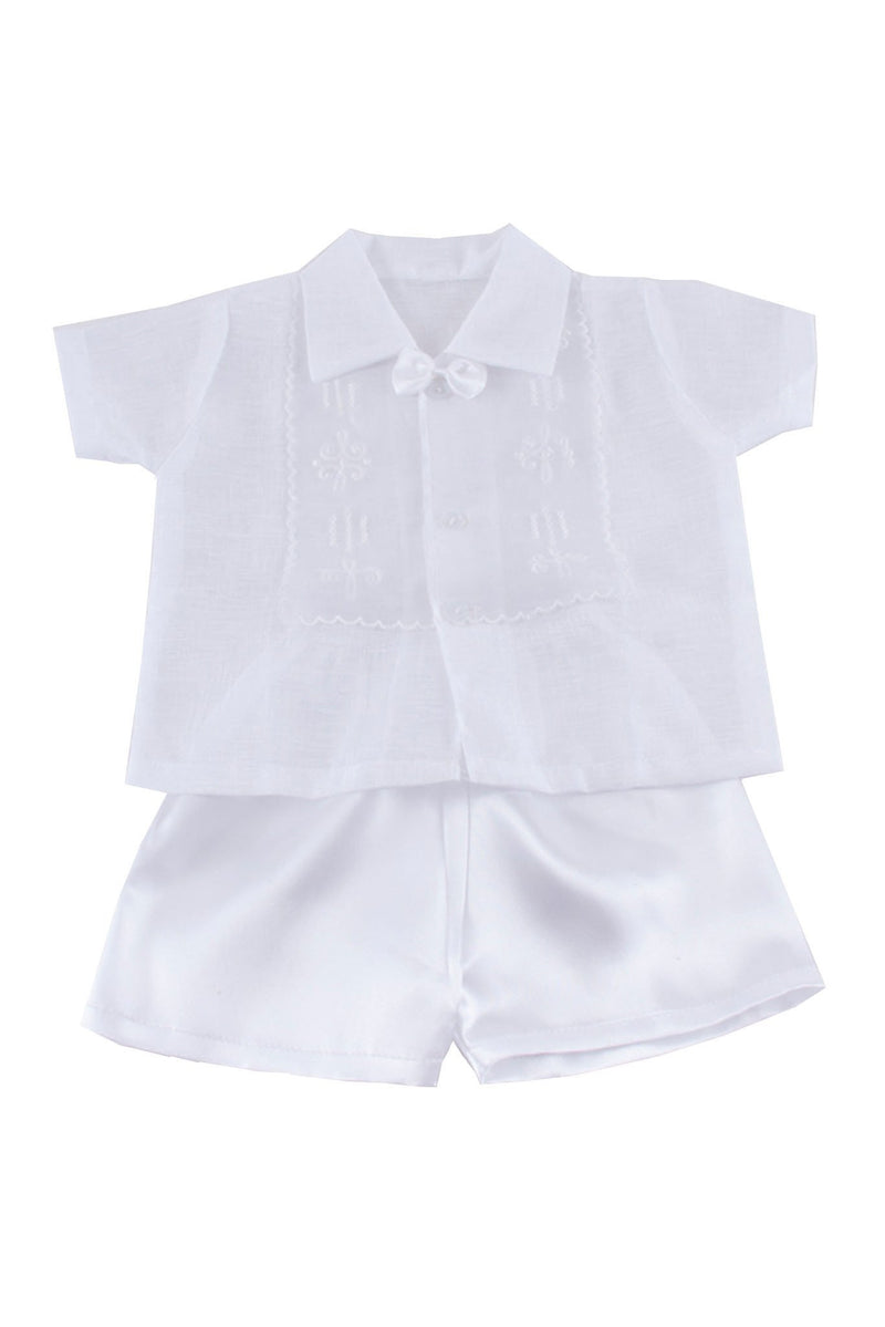 Boys Baptism Barong Set White Christening
