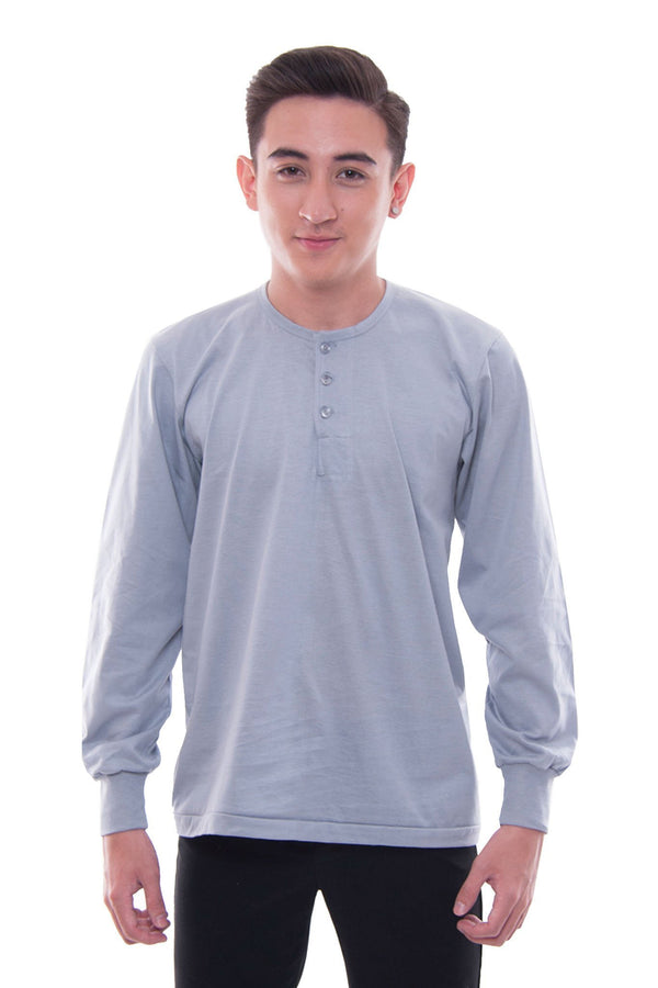 Camisa De Chino - Long-Sleeve Gray Shirts