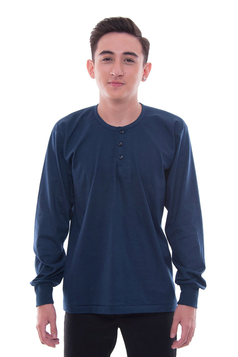 Camisa De Chino - Long-Sleeve Navy Blue Shirts