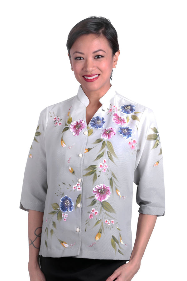 Pre-Order - Womens Barong Painting Gray 005 Filipiniana