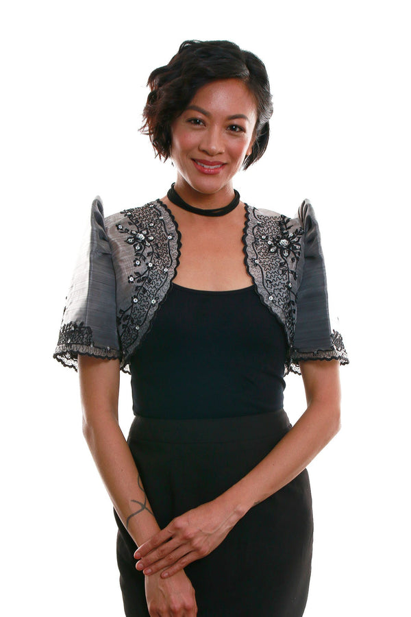 Mestiza Bolero Dark Gray 001 - Filipiniana
