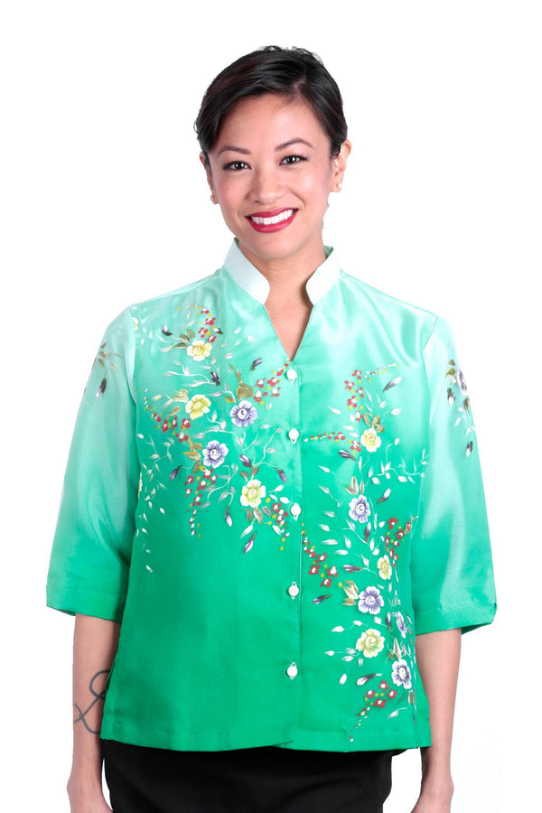 Pre-Order - Womens Barong Painting Green 005 Filipiniana