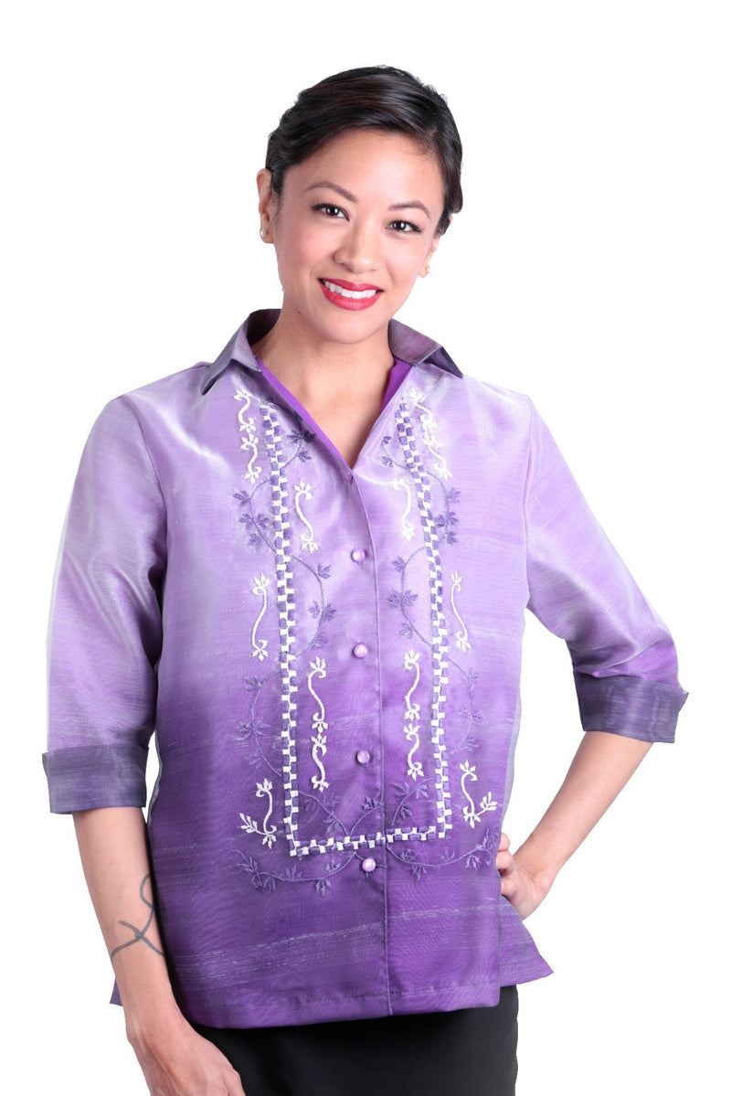 Pre-Order - Womens Barong Purple 005 Filipiniana