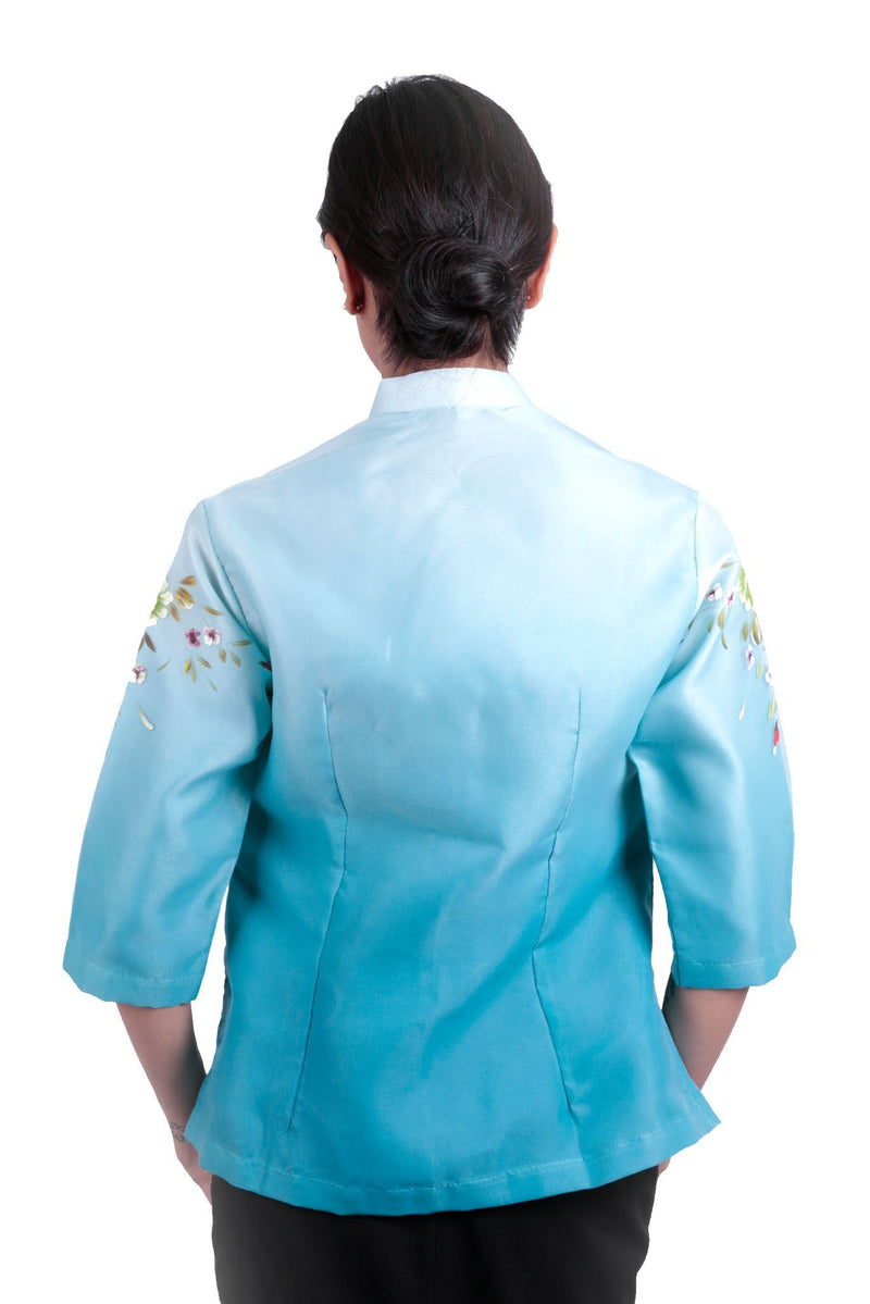 Pre-Order - Womens Barong Painting Aqua Blue 005 Filipiniana
