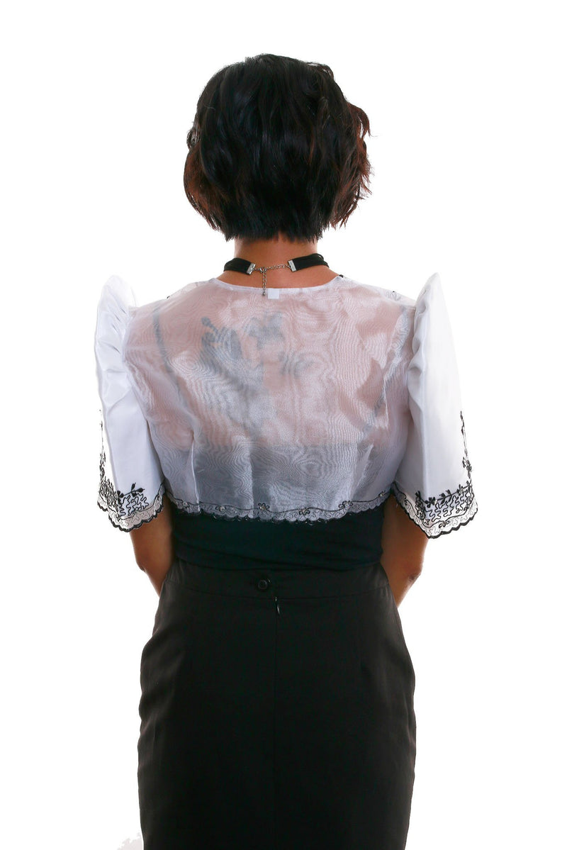 Mestiza Bolero White And Black 001 - Filipiniana