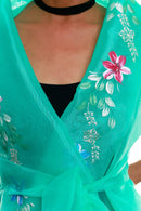 Pre-Order - Filipiniana Wrap-Around Mint Green With Fitting Gown Womens Set