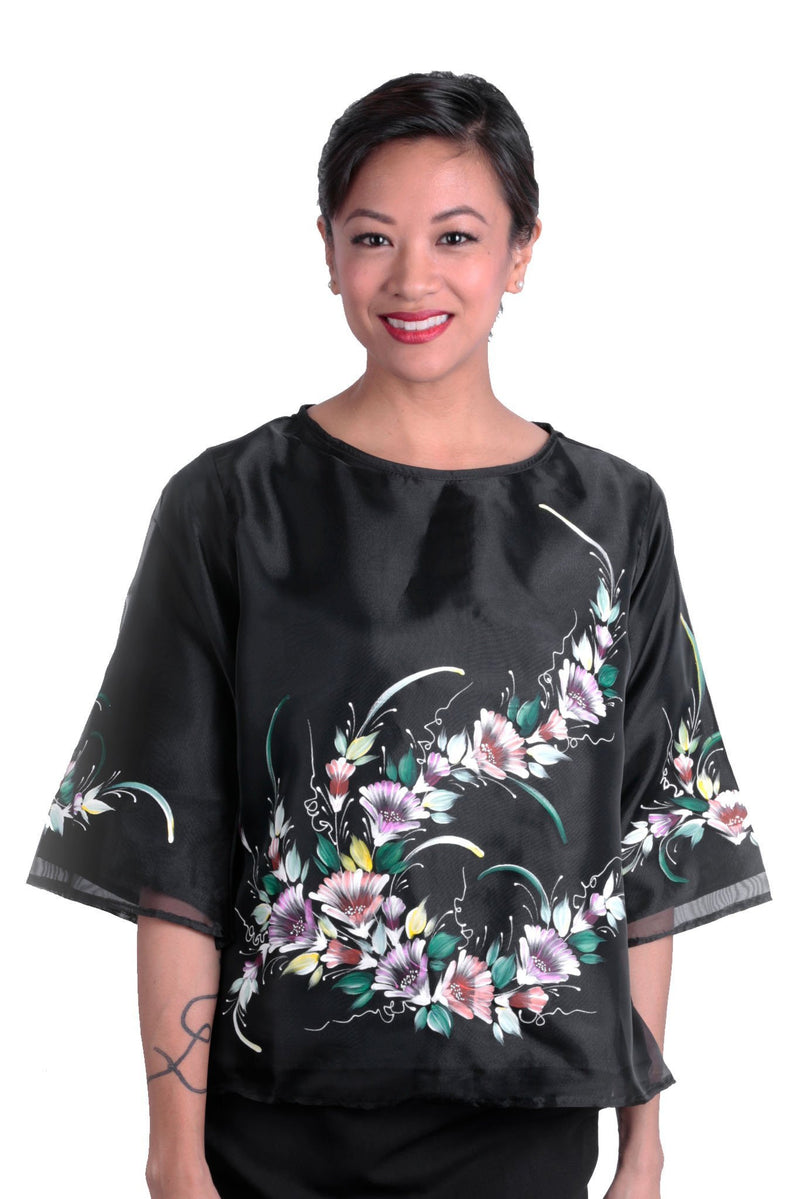 Pre-Order - Womens Kimona Painting Black 003 Filipiniana