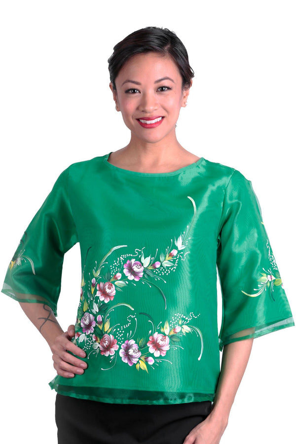 Pre-Order - Womens Kimona Painting Green 003 Filipiniana