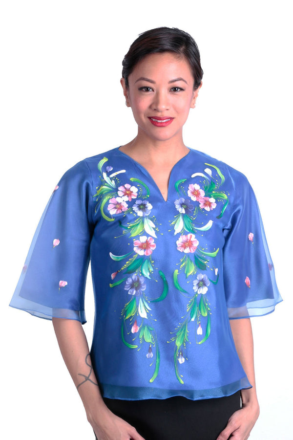 Pre-Order - Womens Kimona Painting Blue 002 Filipiniana