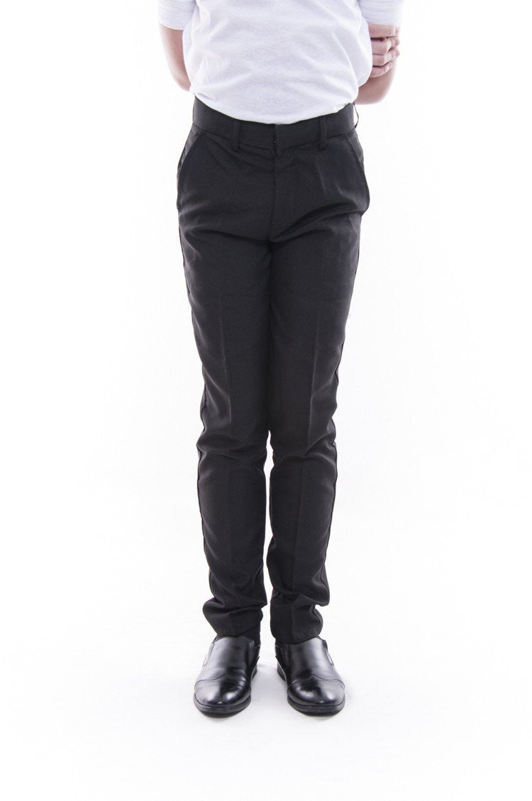Pre-Order - Boys Skinny Fit Formal Slacks Black Pants