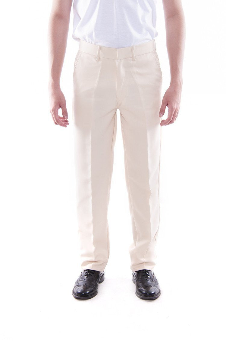 Pre-Order - Mens Regular Fit Wool Slacks Beige Pants