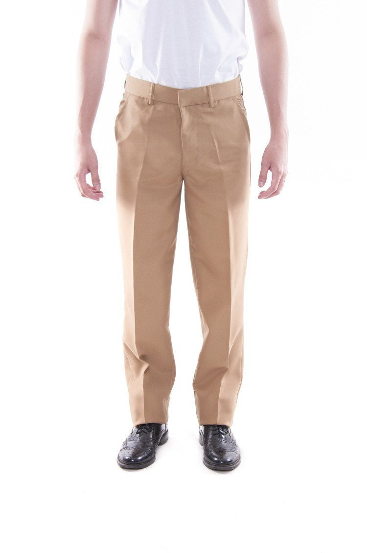 Pre-Order - Mens Regular Fit Wool Slacks Tan Pants