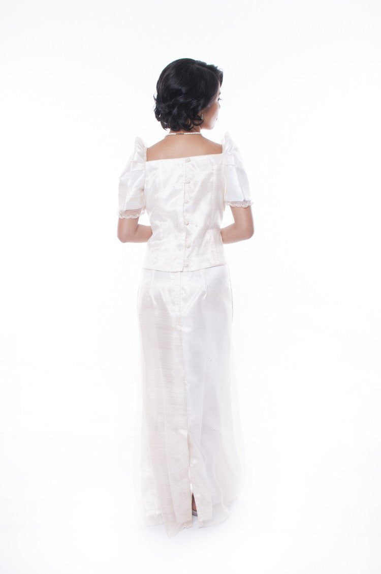 Pre-Order - Filipiniana Terno With Butterfly Sleeves Womens Set