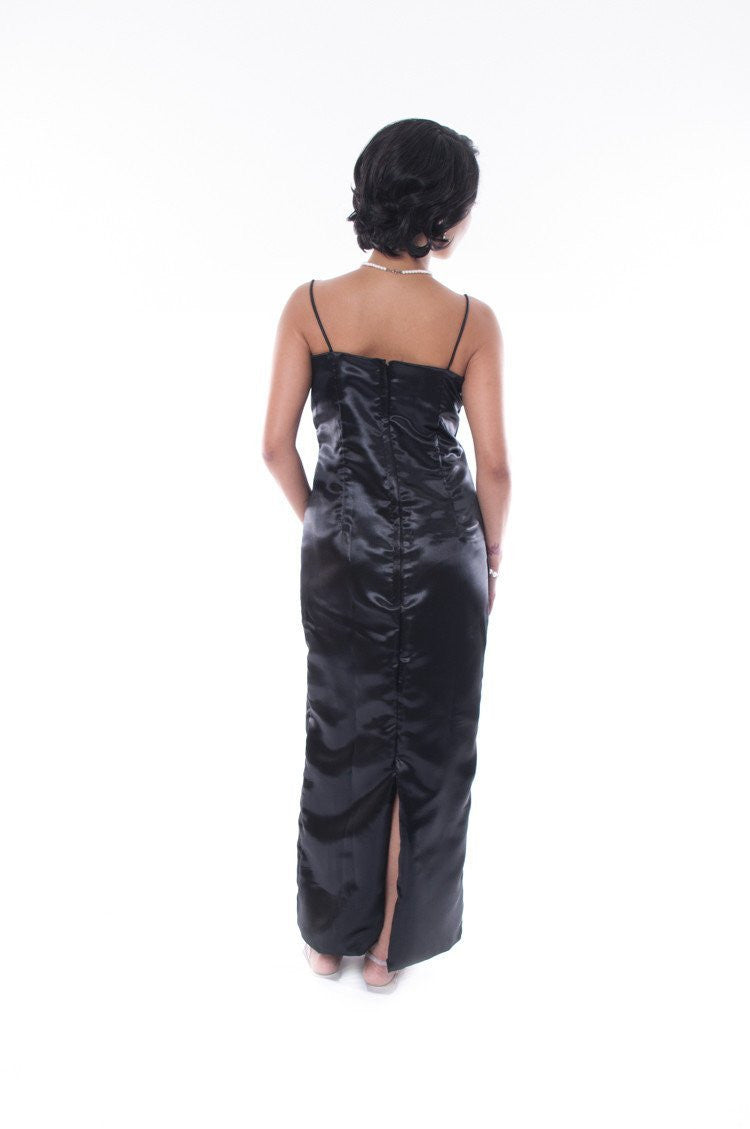 Satin Fitting Gown Black Dress