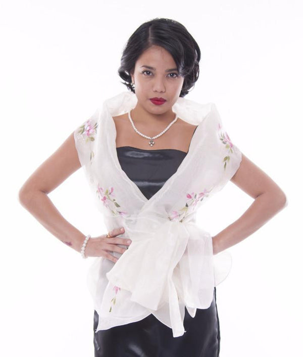 Filipiniana Wrap-Around Beige Blouse
