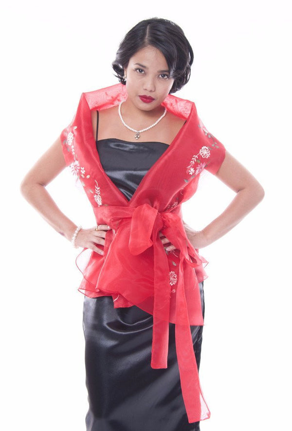 Filipiniana Wrap-Around Red Blouse