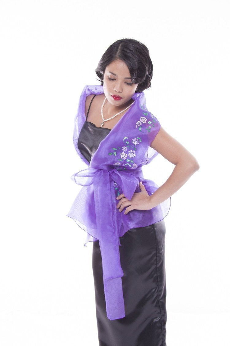 Pre-Order - Filipiniana Wrap-Around Purple With Fitting Gown Womens Set