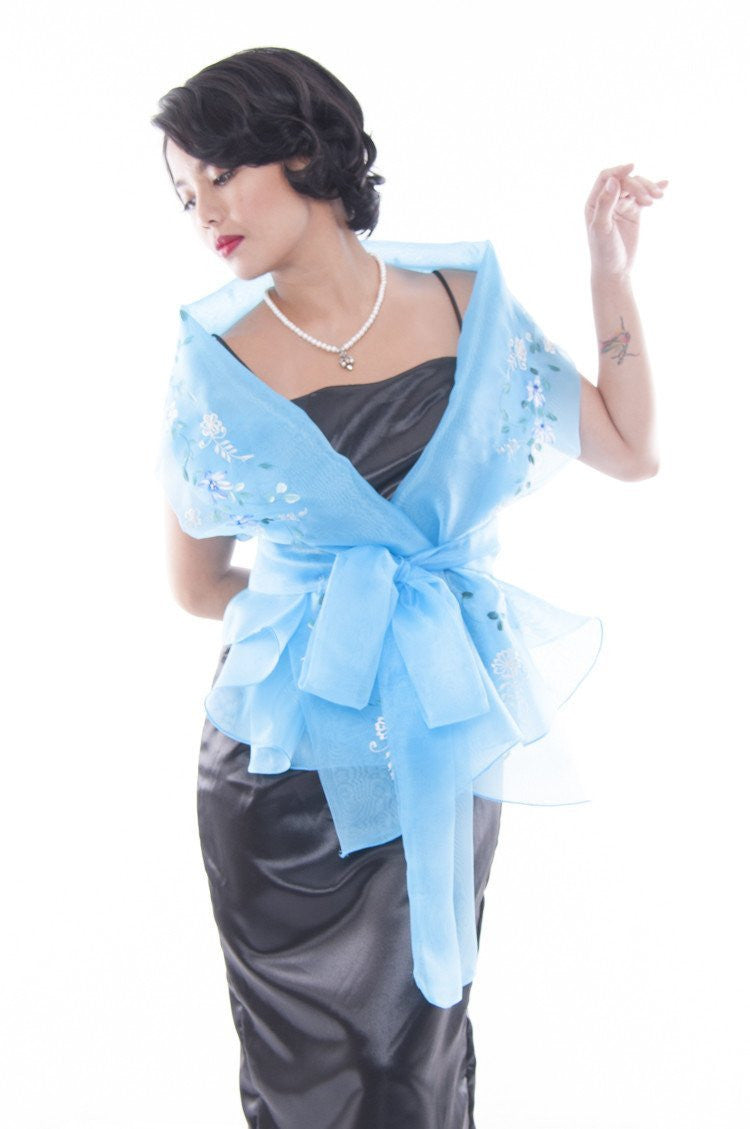 Pre-Order - Filipiniana Wrap-Around Light Blue With Fitting Gown Womens Set