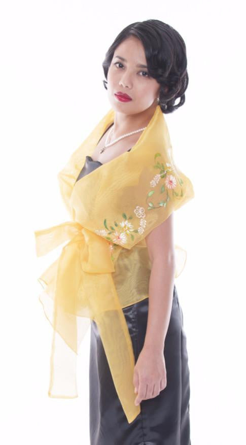 Filipiniana Wrap-Around Gold Blouse
