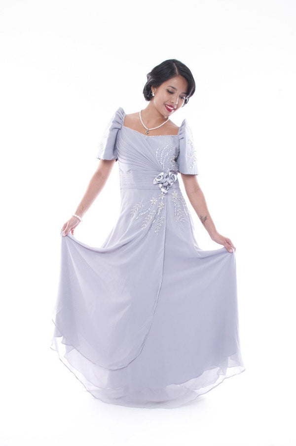 Pre-Order - Emy Mestiza Gown Gray Filipiniana Dress