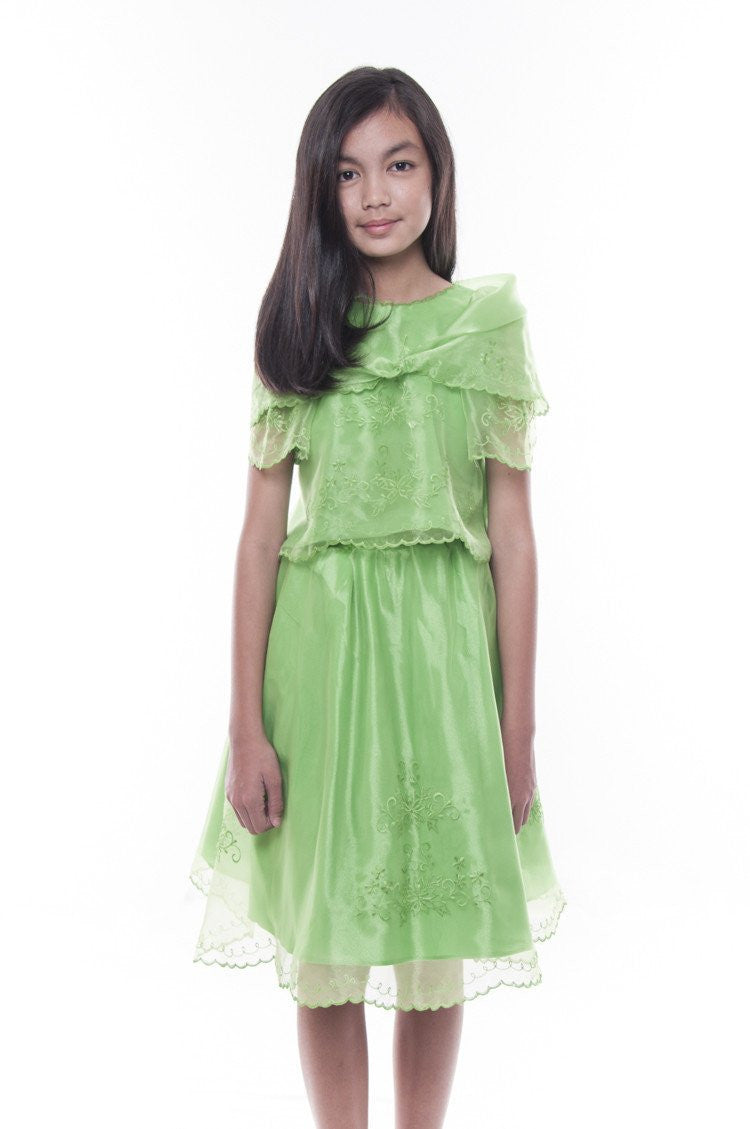 Pre-Order - Girls Barot Saya With Alampay Green Set 004 Costume