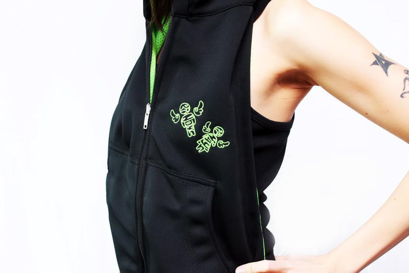 By:chelo Reversible Hoodie - Bright Green And Black