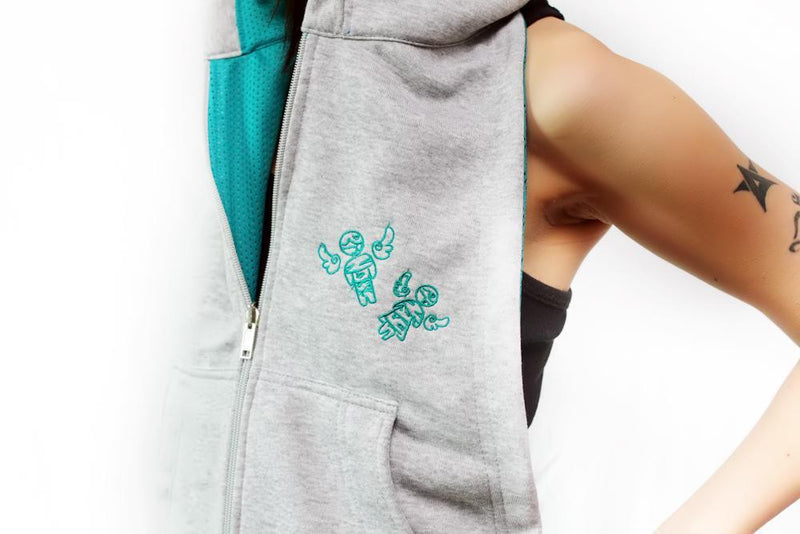 BY:CHelo Reversible Hoodie - Teal And Gray