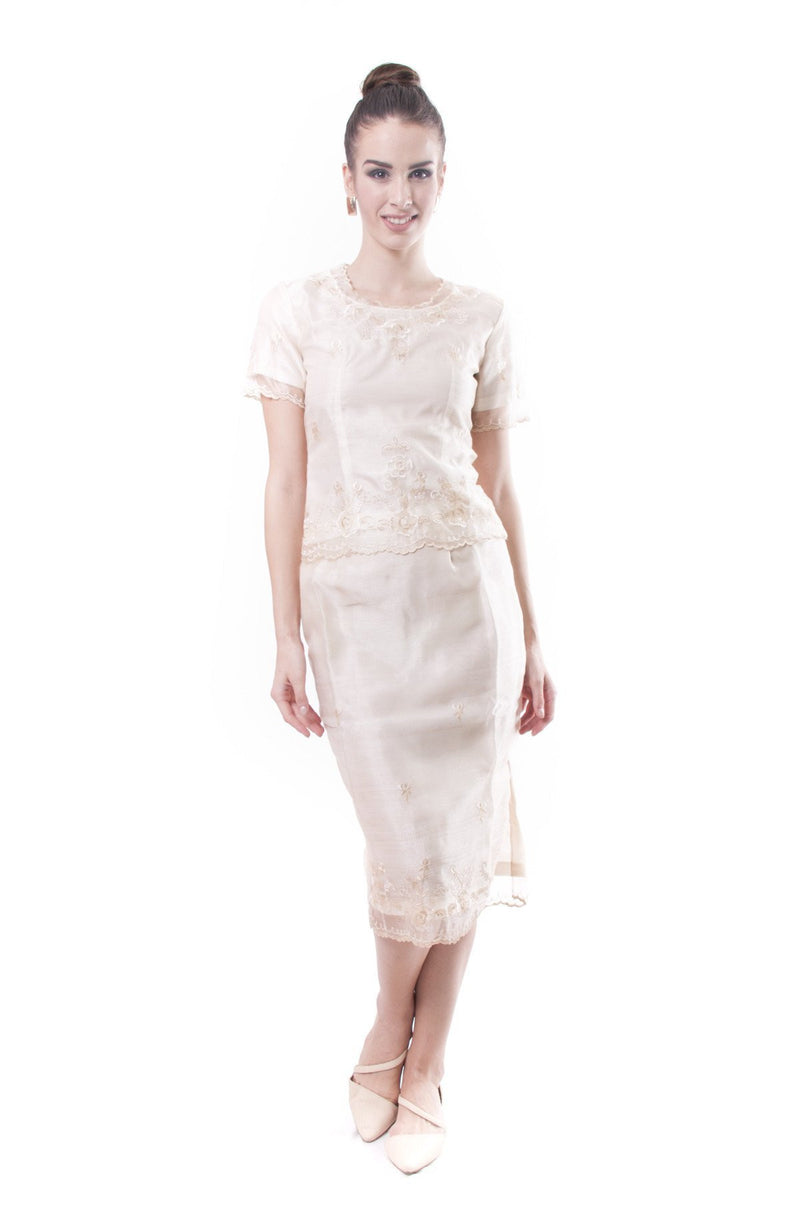 Barot Saya Organza Midi 002 - Filipiniana Womens Set