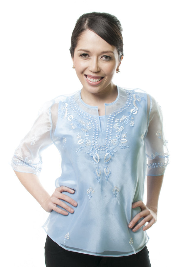 Womens Kimona Light Blue 001 - Filipiniana