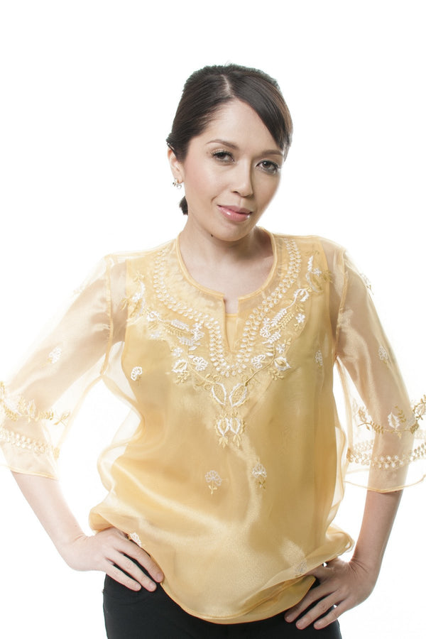 Womens Kimona Gold 001 - Filipiniana